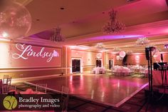 Logo at Lindsey's pink book themed Bat Mitzvah party at DoubleTree Bethesda | Pop Color Events | Adding a Pop of Color to Bar & Bat Mitzvahs in DC, MD & VA | Photo by Bradley Images