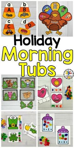 Are you looking for a better way to start your day? This Holiday Morning Tubs Bundle is a set of fun, hands-on activities used to learn and review literacy and math concepts. These themed morning tubs are an entertaining and engaging way to start the day. This holiday bundle of morning tubs includes 60 hands-on activities that are perfect for children around the ages of 4-6 in Preschool, Kindergarten and 1st grade. Click on the picture to learn more! #abcsofliteracy #morningtubs #morningwork Kindergarten Morning Work, Kindergarten Rocks, Kindergarten Classroom, Classroom Ideas, Fall Preschool, Preschool Curriculum, Preschool Activities, Homeschooling, Morning Activities