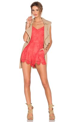 Lovers + Friends Songbird Romper in Coral Reef | REVOLVE