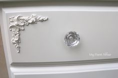 Commissioned set of drawers by My Paint Affair.... Whisper White with newly applied appliques and crystal cut glass pulls.