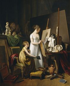A Painter's Studio Louis-Léopold Boilly (French, Oil on canvas. National Gallery of Art, Washington. The artist is surrounded by the tools of her trade, palette and paints,. Oil On Canvas, Canvas Art, Canvas Prints, Art Prints, Blank Canvas, Painters Studio, Artist Workshop, Art Ancien, Atelier D Art
