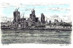View of City of London from Tower Bridge - drawings and paintings by Stephen Wiltshire MBE