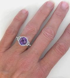 Gorgeous Amethyst Engagement Ring -I LOVE amethyst. It's my birth stone of course :) I would take a amethyst engagement ring over a boring diamond one ANY DAY.
