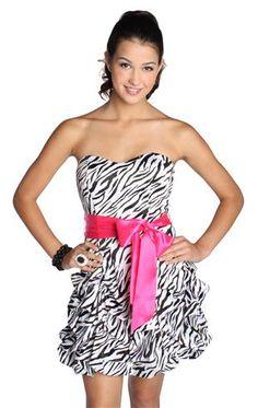 3c6e50a9ae strapless zebra print prom dress with short pick up skirt Junior Homecoming  Dresses