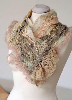 layers of vintage lace scarf :) Antique Lace, Vintage Lace, Shabby Chic, Moda Vintage, Altered Couture, Lace Scarf, Linens And Lace, Mode Style, Refashion