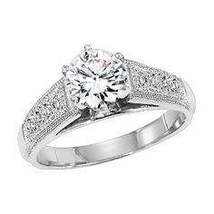 Platinum diamond engagement ring with 0.16ct. A nice setting that never goes out of style.