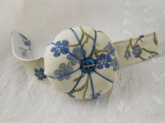 Wrist  Pin Cushion Blue Floral Jacquard by KrishenkasTreasures