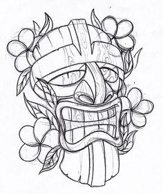 Draw A Tiki Tattoo Pictures To Pin On Pinterest