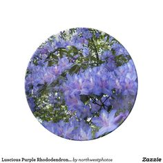 Luscious Purple Rhododendrons Floral Porcelain Plate