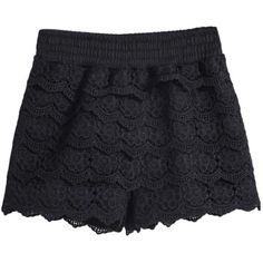 Shorts Black Lace Street Plain Straight Elastic Waist Mid Waist Pants, Size Available: one-size Type: Shorts Style: Street Length(cm): 31cm.