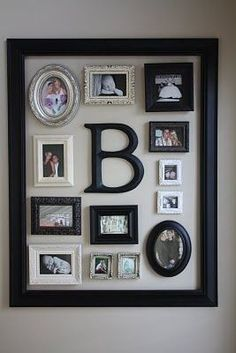 Cute way to highlight favorite children's pictures in your home with a large frame gathering them all up with each one's initials.