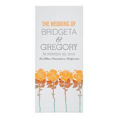 Orange roses garden - outdoor wedding programs custom rack card