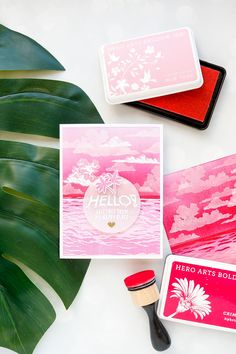 Hero Arts June 2018 MY Monthly Hero Kit #mymonthlyhero - Hello Greetings From My Happy Place card by Yana Smakula. Ink blended summer sunset card. Color layering ocean card. #stamping #heroarts #cardmaking