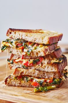 Cheesy Vegetable Melts Recipe. This gourmet vegetarian grilled cheese is one of the most easy recipes you'll find to eat more veggies! Ideas like this are classic with a twist, the best choice for lunches and dinners for kids and adults. Comfort food has never been so tasty! Made with dijon mustard, mayonnaise, onion, asparagus, mushroom, red bell pepper, kale, garlic, sourdough, and gouda cheese.