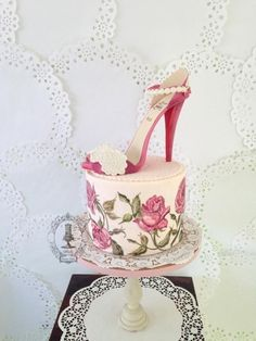 Painting the Roses Pink. Shoe Cake