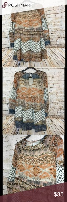 Altar'd State Dress Altar'd State Semi Sheer Multi Print BOHO Long Sleeve Above Knee Lined Dress S Altar'd State Dresses