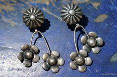 Vintage  925 Sterling Silver Dangle Flower Screw Back Earrings