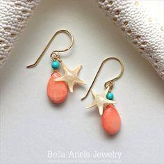 ピーチコーラル(サンゴ) &スターフィッシュ ピアス ハワイ [Bella Anela / ベラアネラ][海外受注]