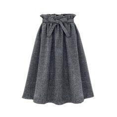 Plain Ruffle Hem Tie Waist Pleated Midi A-Line Skirt (79.995 COP) ❤ liked on Polyvore featuring skirts, flounce hem skirt, cotton pleated skirt, mid calf skirts, pleated skirt and pleated midi skirt
