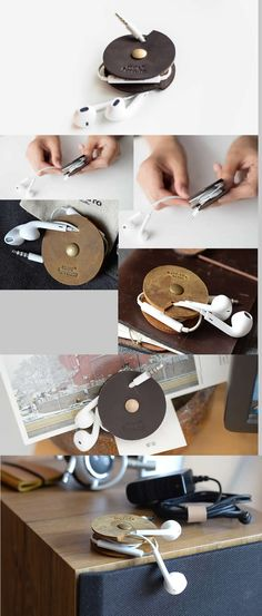 Leather Cord Organizer Holder Headset Headphone Earphone Wrap Winder