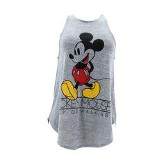 Disney - Women's Mickey Keep Walking Drapey Tank Top - Grey