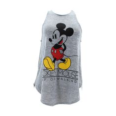 - Cotton blend in grey - Round neckline, pull over - Sleeveless construction - Mickey graphic imprint on front - Uneven hemline