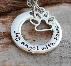 My Angel with Paws Pet Loss Necklace