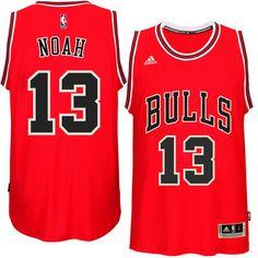 Mens Chicago Bulls Joakim Noah adidas Red 2014-15 New Swingman Road Jersey