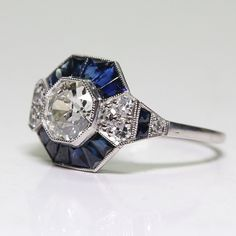 Womens Antique Art Deco Jewelry Silver w  Natural Blue Sapphire Ring Art  Deco Ring 935f9e54e155