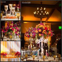 Suhaag Garden, Indian Wedding, Centerpieces, crystals, flowers, candles, candelabra, Florida wedding decorator, urli