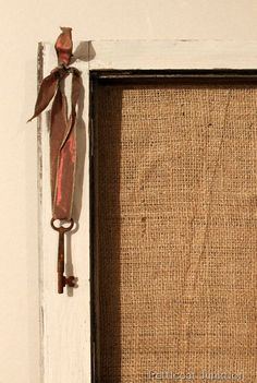 Rusty Key, Burlap, and Grapevine Wreath Window Frame, Petticoat Junktion