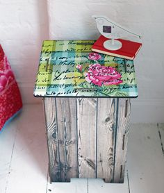 Miho Chattering Roses floral side table/stool from Cox & Cox