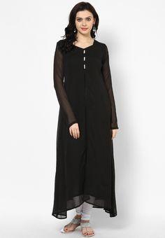 Black Solid Kurti - Abhishti Kurtas & kurtis for women | buy women kurtas and kurtis online in indium