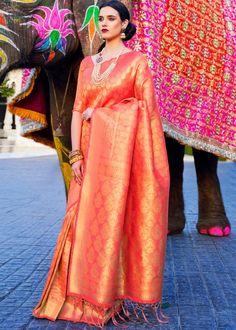 #orange #woven #kanjivaram #silk #saree #blouse #attractive #design #sareelove #new #arrivals #beautiful #indianwear #ootd #traditional #womenswear #online #shopping Kanjivaram Sarees Silk, Art Silk Sarees, Orange Saree, Saree Shopping, Elegant Saree, Work Sarees, Saree Wedding, Indian Sarees, Sarees Online