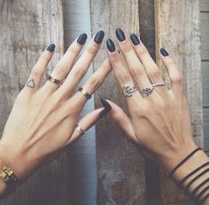 Matte Black Nails   Rings