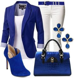 Electric Blue White. Have 2 items per outfit from same color family (doesnt have to be an exact match) and it totally pulls the outfit together