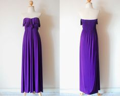 Purple Evening Frill Dresss by pinksandcloset on Etsy