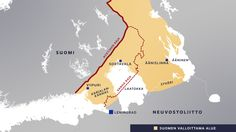 Kartta Suomen valloittamasta alueesta suurimmillaan vuosina 1939-44