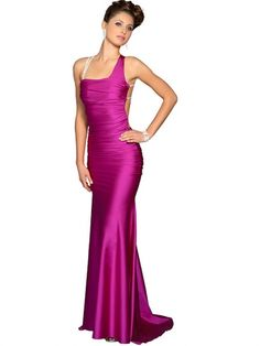 Trumpet/Mermaid Straps Elastic Woven Satin Sweep Train Ruched Prom Dresses