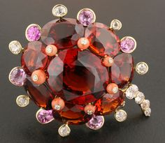 """Madarin Garnet, Pink Sapphire, Old-mine Diamond, Coral and 18K Yellow Gold """"Flower"""" Brooch by James de Givenchy #Taffin #JamesdeGivenchy #Brooch"""