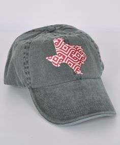 Faded gray Texas ball cap with maroon and white pattern - outlined in rhinestones