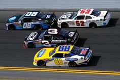 Casey Roderick, driver of the #08 Randy Hill Racing Ford, leads the Austin Dillon, driver of the #3 AdvoCare Chevrolet, Reed Sorenson, driver of the #52 Means Racing Chevrolet, and Cole Whitt, driver of the #88 Hellmann's Chevrolet, during the NASCAR Nationwide Series DRIVE4COPD 300 at Daytona International Speedway on February 25, 2012 in Daytona Beach, Florida.  (February 24, 2012 - Source: John Harrelson/Getty Images North America)