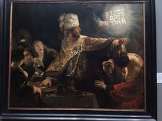 Belshazzar's Feast story from the Old Testament book of Daniel Belshazzar (king of Babylon ) servers wine in the precious vessels his father Nebuchadnezzar looted from temple at Jerusalem Writing in Hebrew 'you have been weighed on the balance and art found wanting' King shocked