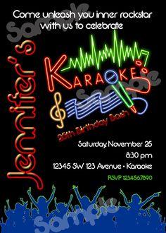 Karaoke party invitation karaoke party karaoke and party invitations karaoke birthday invitation printable file diy karaoke invitation diy karaoke stopboris Image collections