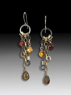 Smoky Quartz Jambalaya Earrings: Suzanne Q Evon: Gold, Silver, & Stone Earrings - Artful Home