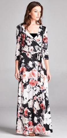 70bf88d48fe Black Floral Maxi Wrap Dress Awesome black and pink floral print maxi. Wrap  Style.