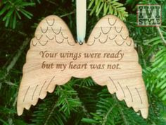 Nov 2017 - Memorial wings made from laser cut wood laminate. At the Mindsongs Creations shop at Etsy! Diy Paper Christmas Tree, Diy Christmas Decorations Easy, Christmas Mom, Christmas Angels, Christmas Wreaths, Christmas Ornaments, Christmas Poinsettia, Etsy Christmas, Crochet Christmas
