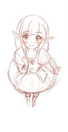 pw-art:  Skyward Sword Zelda sketch. Perspective + anime attempts. Those abbreviations are just killing me X-x Need to draw some more real-life models to get it properly
