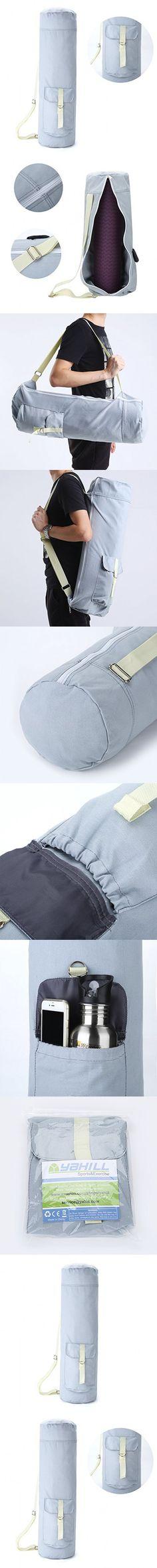 Yahill® 28'' Large Cotton Full-Zip Pocket Yoga Mat Bag, High Density Cotton Canvas Yoga Bag ,Gray