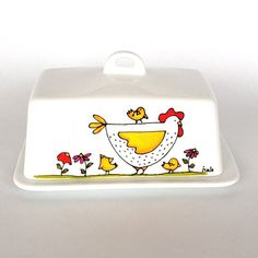 Butter Dish Porcelain Chicken hand painted by by IsamaloArtiste